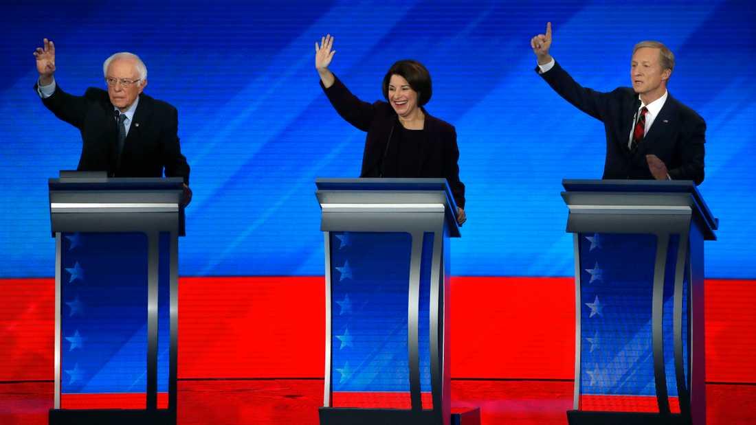 Bernie Sanders, Amy Klobuchar och Tom Steyer vill bli Demokraternas utmanare mot Republikanernas Donald Trump i presidentvalet 3 november. Här vid en tv-sänd debatt den 7 februari.
