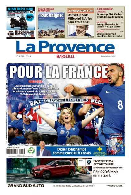 """La Provence, Marseilles lokaltidning har rubriken: """"FÖR FRANKRIKE""""."""
