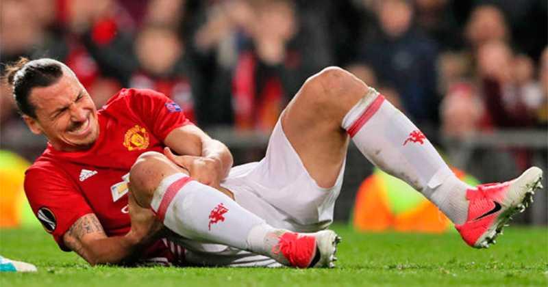 Zlatan när han ådrog sig knäskadan.