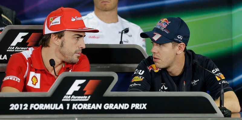 DUELLEN Regerande världsmästaren Sebastian Vettel har ätit in 40 poäng på Fernando Alonso.