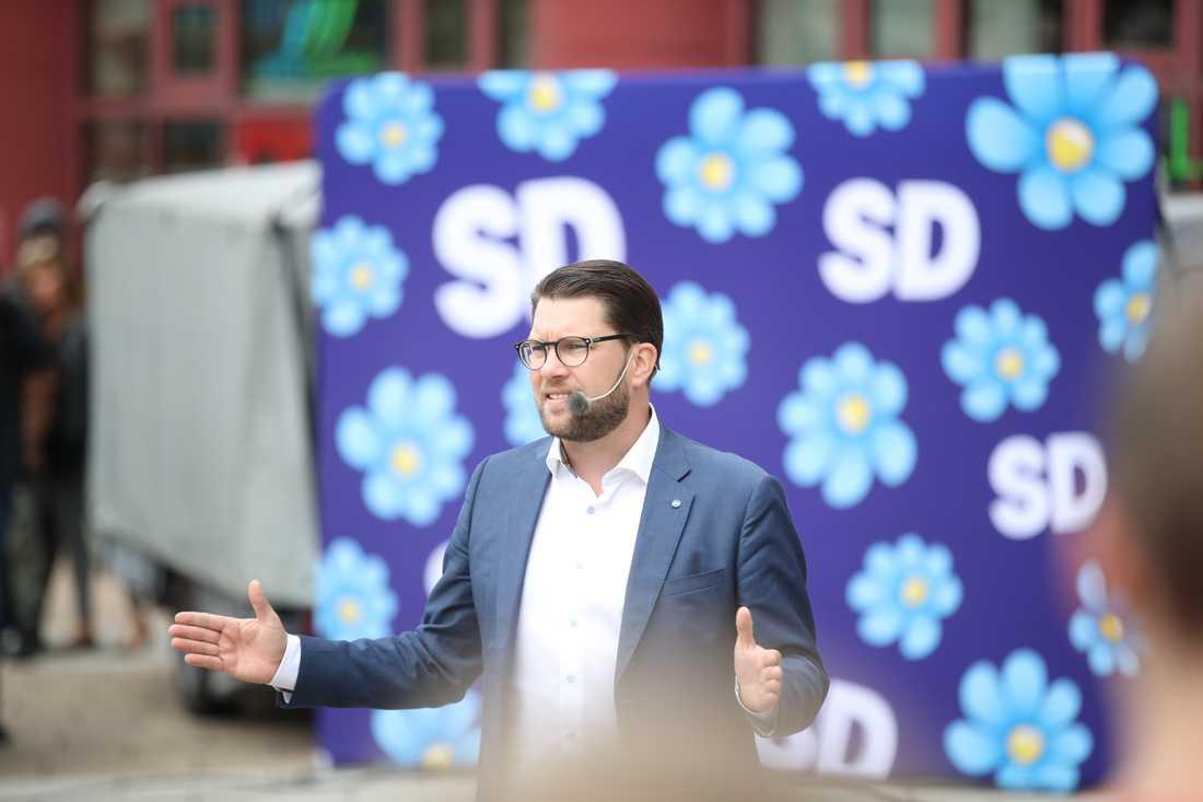 Sverigedemokraterna har överlägset flest följare på Instagram (70300), men partiledaren Jimmie Åkesson har inget privat konto. Arkivbild.