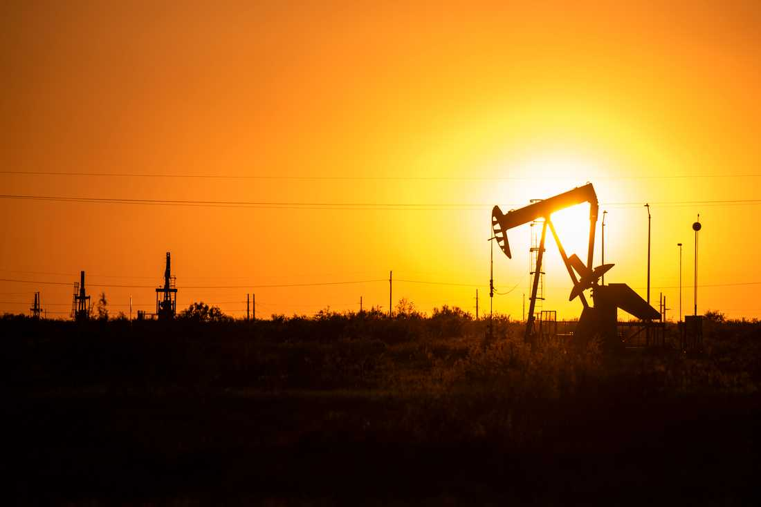 Aktiv oljekälla i Texas. Arkivbild.