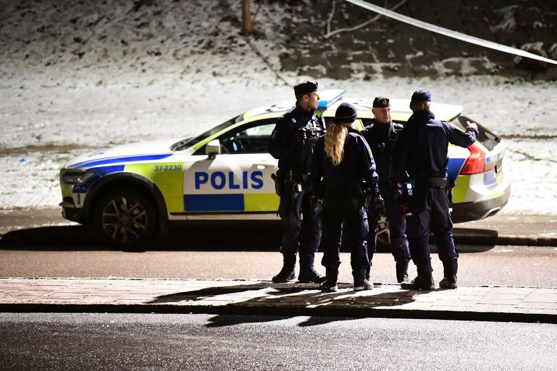 Polisinsats i Rågsved i södra Stockholm.