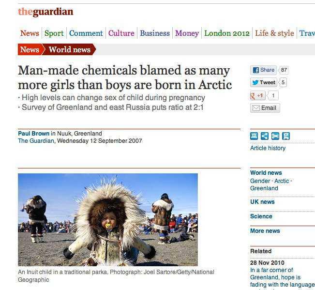 ...men det illustrerades med en bild från bildbyrån Getty Images tagen på Grönland, här till höger använd av brittiska The Guardian.