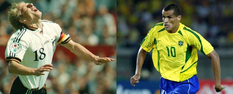 Största fuskare Tysklands Jürgen Klinsmann och Brasiliens Rivaldo hör till två av fotbollsvärldens mest ökända filmare.