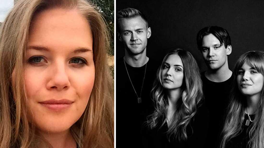 """Anna Björklund lämnar """"Tankesmedjan"""" och kollegorna Fredrik Söderholm (tidigare petad från programmet),  Christopher Garplind och  Moa Wallin."""