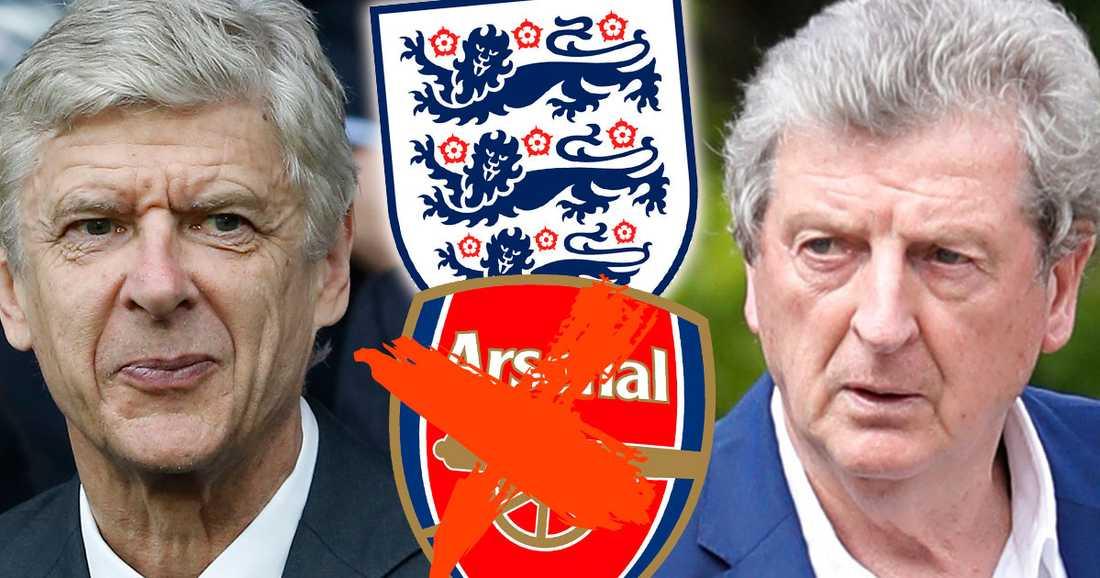 Arsenal-tränaren Arsene Wenger nämns som FA:s första namn i jakten på Hodgsons ersättare.