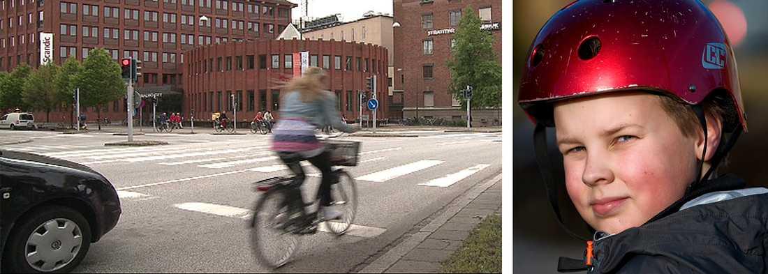 Cyklist utan hjälm på Drottninggatan i centrala Malmö som också passar på att köra mot rött. Mycket få skåningar använder cykelhjälm och ännu färre är Malmöbor.