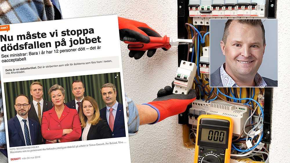 Regeringen kan gå från ord till handling genom att förtydliga Arbetsmiljöverkets uppdrag: elteknikrelaterade arbetsplatsolyckor ska hanteras som alla andra arbetsplatsolyckor, skriver Fredrik Sjödin, Elsäkerhetsexpert, Installatörsföretagen.