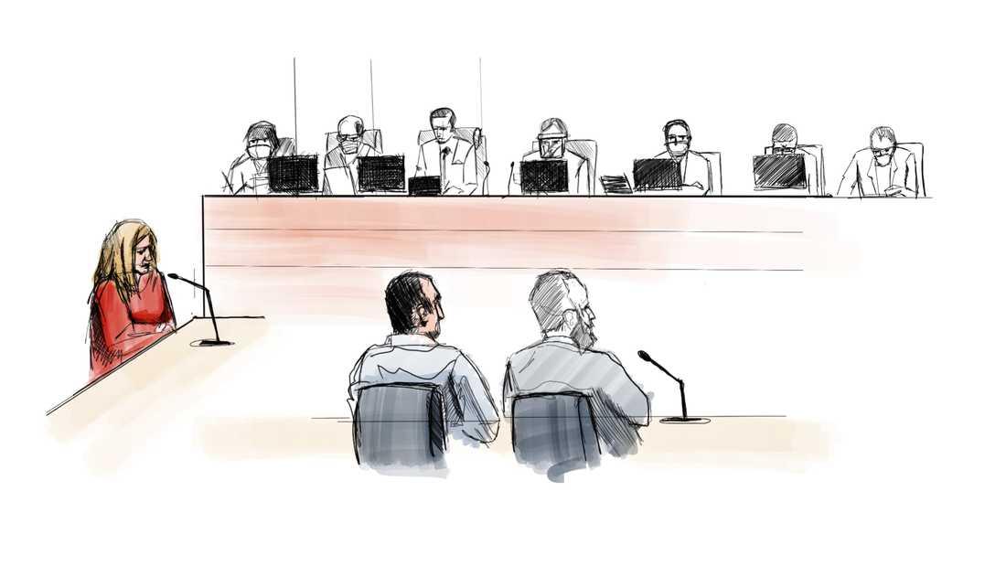Illustration från förhandlingens första dag, till vänster åklagare Anna Stråth och den misstänkte 32-åringen och hans försvarare framför rätten.
