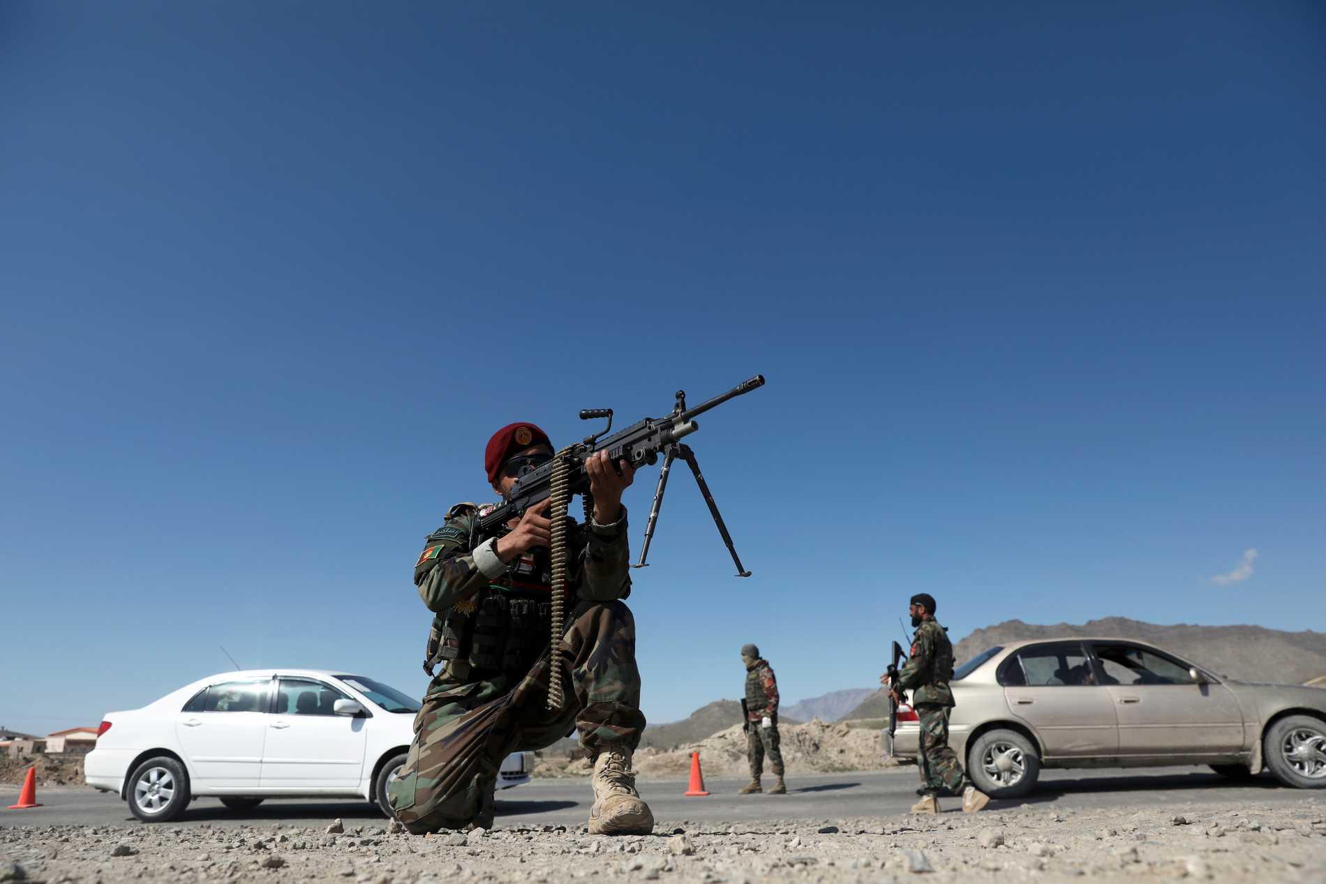 Afghanska soldater utanför huvudstaden Kabul. Arkivbild.