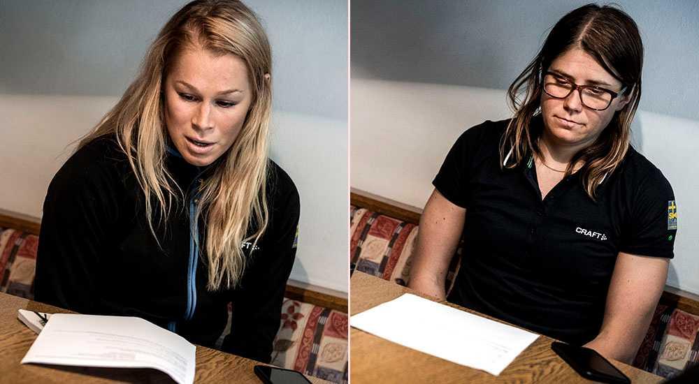 """Jennie Öberg och Ida Ingemarsdotter blir besvikna när de får se siffrorna från Sportbladets undersökning. """"Varje gång det sker sådana här saker är det beklagligt"""", säger Ingemarsdotter."""