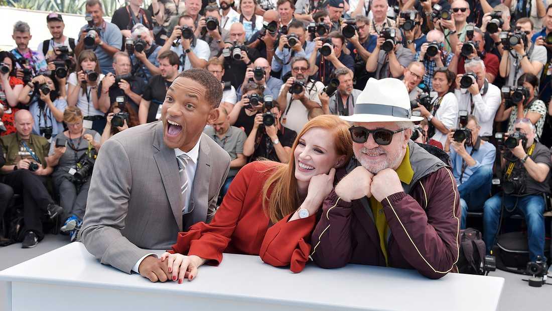 Will Smith, Jessica Chastain och juryns ordförande Pedro Almodovar under filmfestivalen i Cannes 2017.