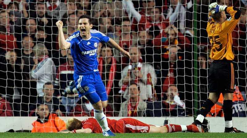 Frank Lampard jublar under fjolårets Champions League-semifinal på Anfield.