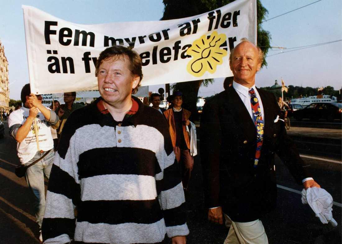Nya tider. Bert Karlsson och Ian Wachtmeister i Ny demokrati 1991.