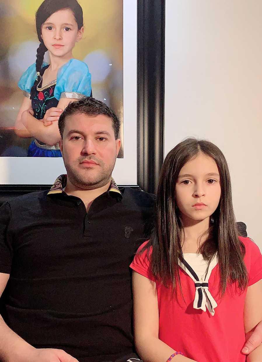 Pappa Nour Saberg tillsammans med dottern Sirena.