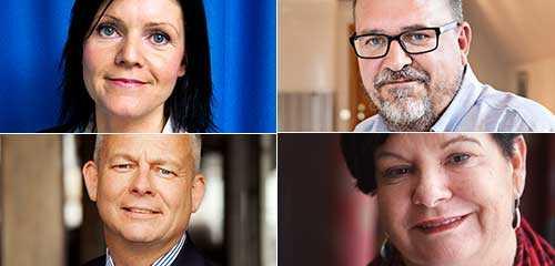 Eva Nordmark, TCO, Karl-Petter Thorwaldsson, LO, Göran Arrius, Saco och Sharan Burrow, Världsfacket, IFS.