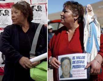 Hustrun… och älskarinnan Till vänster: frun sedan 28 år, Marta Salinas. Till höger: älskarinnan sedan fem år: Susana Valenzuela. De båda möttes när båda sörjde vid gruvan.