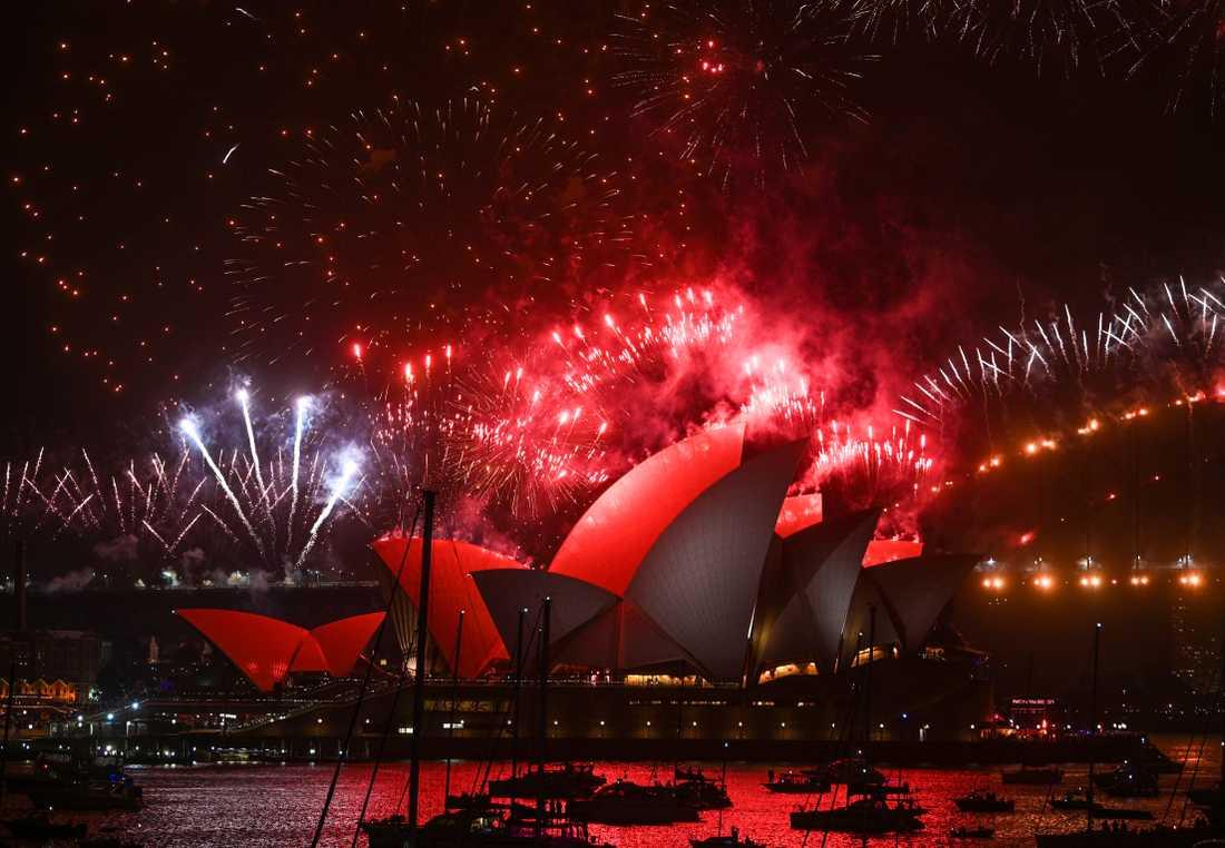 Myndigheterna i Sydney genomförde det traditionella nyårsfyrverkeriet, trots ett totalt eldningsförbud.