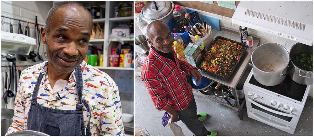 Flera gånger i veckan lagar Blaise Aitkin mat åt hemlösa eller flyktingar i Malmö.