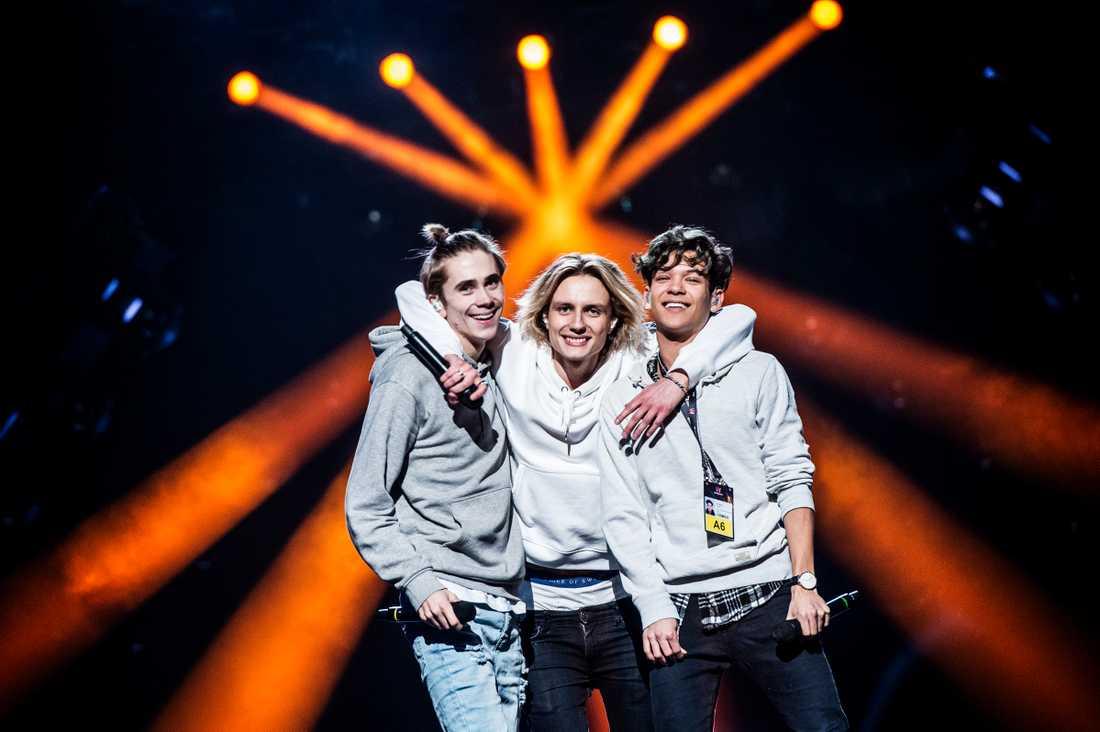 FO&O, Felix Sandman, Oscar Enestad och Omar Rudberg under Melodifestivalen 2017.