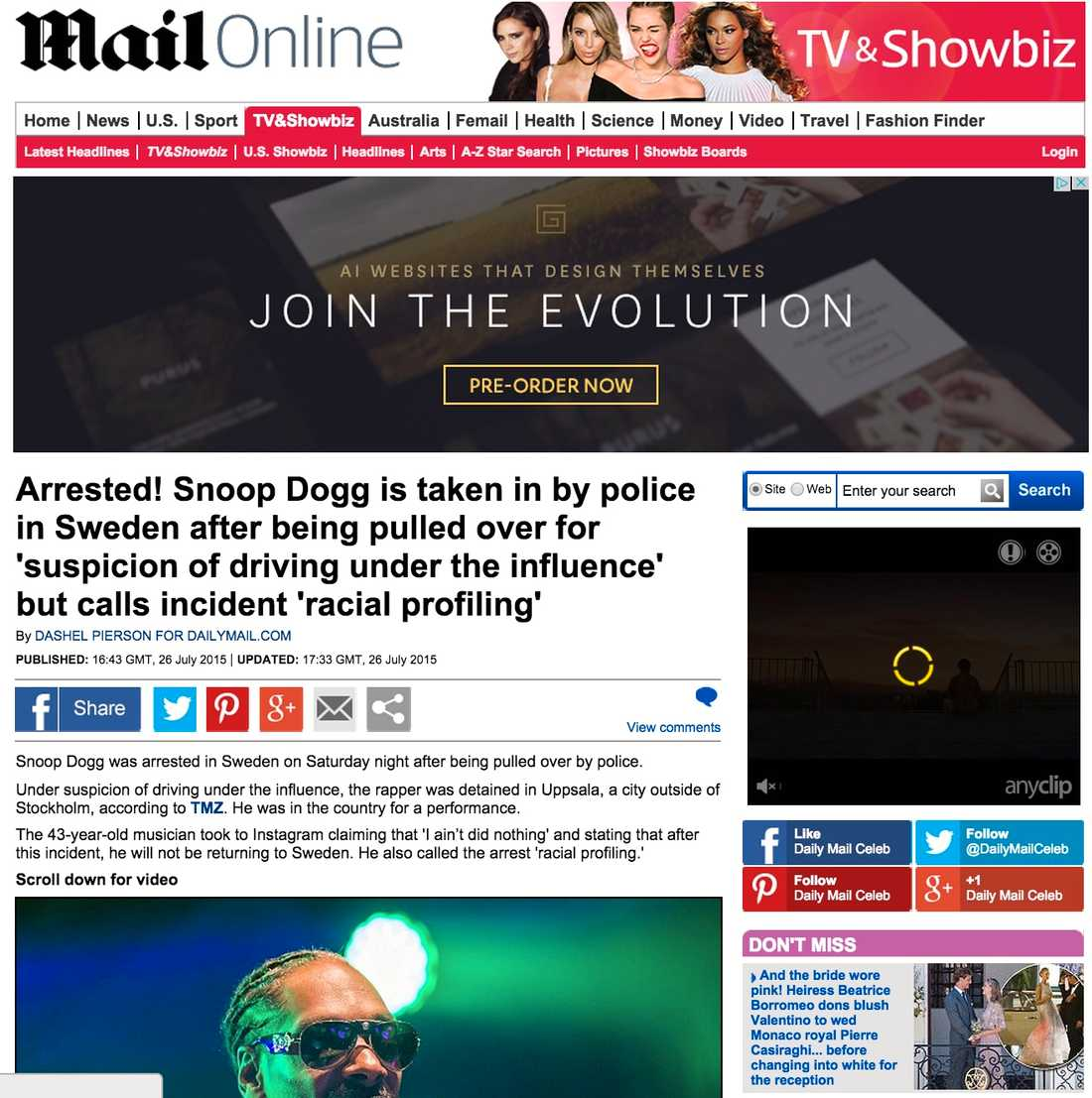 Daily Mail Arrested! Snoop Dogg is taken in by police in Sweden after being pulled over for 'suspicion of driving under the influence' but calls incident 'racial profiling'