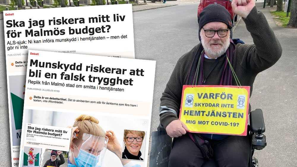Antingen konstaterar man att det blir för dyrt att skydda mig. Eller så tittar vi på lösningar som en tillfälligt höjd kommunalskatt eller ett krav på mer resurser från staten, skriver ALS-sjuke Mats Leijon i en slutreplik till Malmö stad om munskydd inom hemtjänsten.