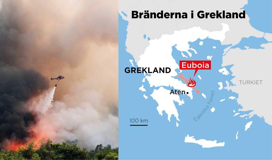 Helikoptrar vattenbombar skogsbranden på Euboia.
