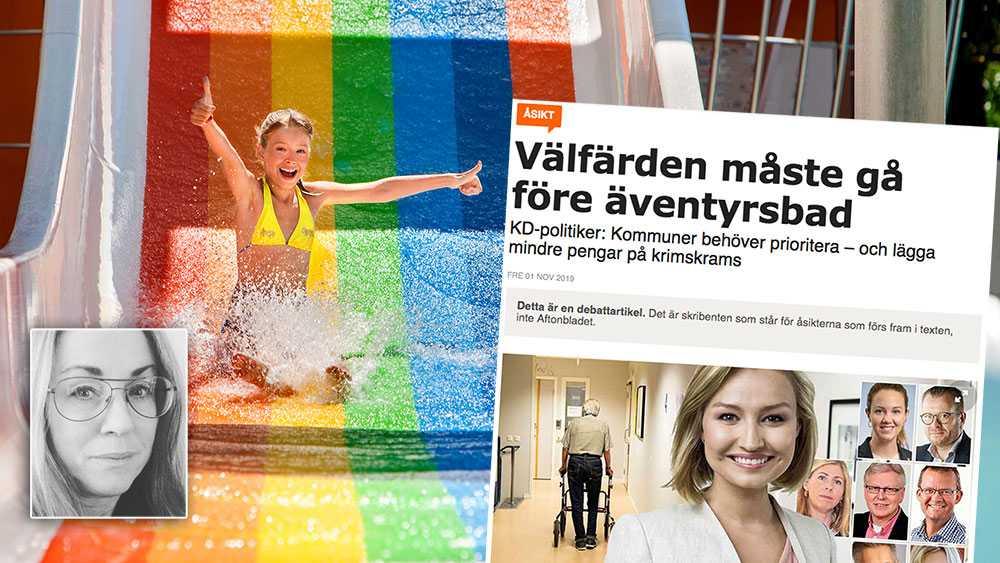Bästa Ebba, jag såg och läste er debattartikel i Aftonbladet om välfärden och äventyrsbad, intressant läsning. I Motala har kommunen och KD dock inte sagt nej till äventyrsbad till förmån för kärnverksamhet, tvärtom, skriver Ingela Olsson.