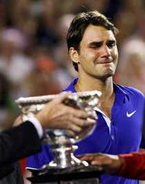 Roger Federer i tårar.