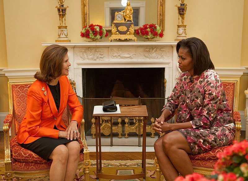 Drottning Silvia i Vita Huset. Fick en lång pratstund med Michelle Obama.