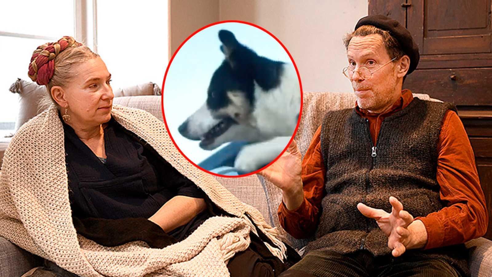 Marie och Gustav Mandelmann. Infällda bilden: hunden Bosse.