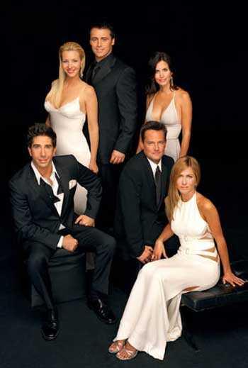 """Ross, Phoebe, Joey, Monica, Chandler och Rachel i """"Vänner"""""""