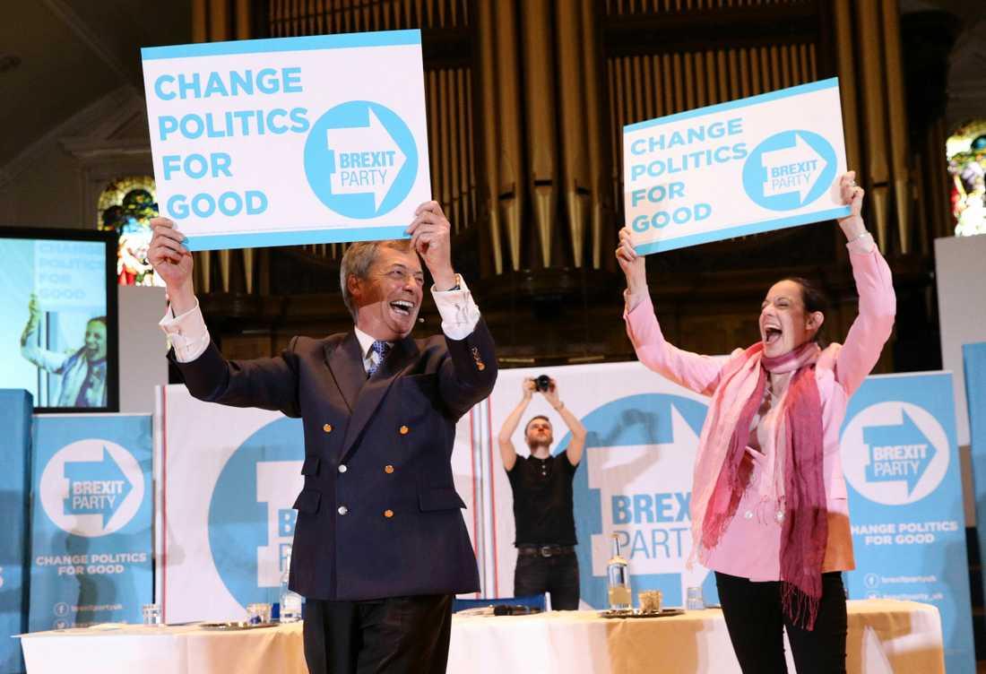Nigel Farage ledde tidigare Ukip men kandiderar nu för det nya Brexitpartiet, tillsammans med bland andra Annuziata Rees-Mogg. Arkivfoto.