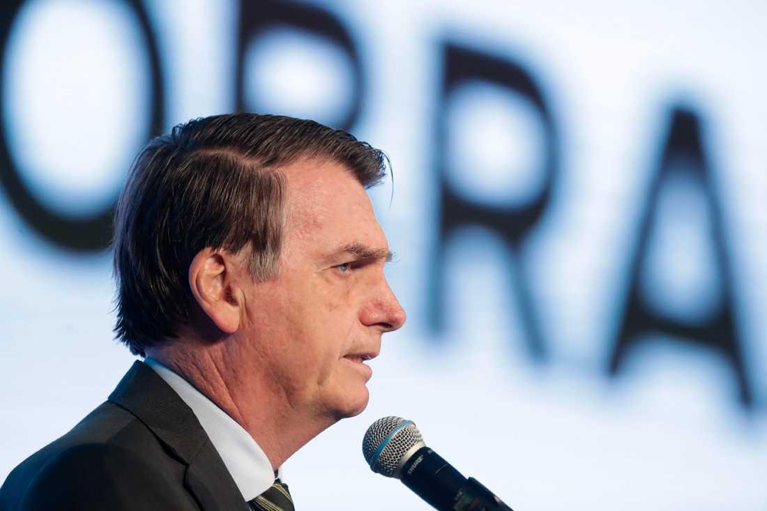 Brasiliens president Jair Bolsonaro talar under en kongress. Arkivbild.