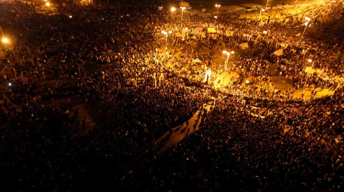 Tahrirtorget under måndagskvällen.