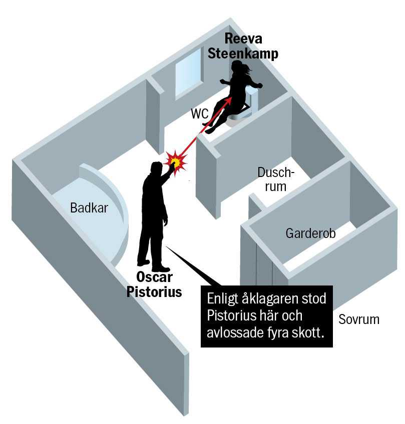Åklagarens bild av hur dödsskjutningen gick till. Grafik: Patrik Lindvall