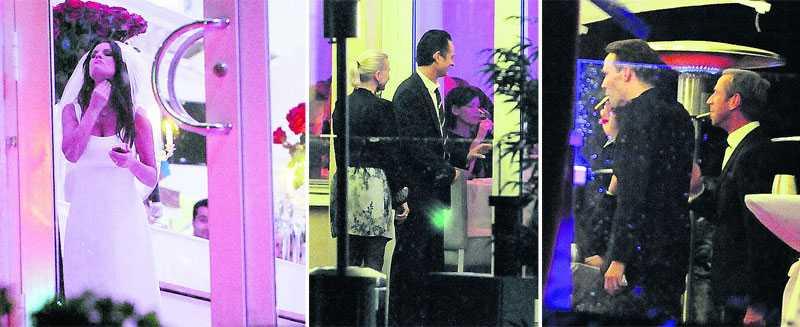 """Festfix Under middagen på restaurang Josefina hann Lena Philipsson med att bättra på sminket. Thomas """"Orup"""" Eriksson och hustrun Pernilla tog en paus utomhus. Lenas ex-man Måns Herngren och nye maken Per Holknekt rökte några cigaretter utanför Josefina."""