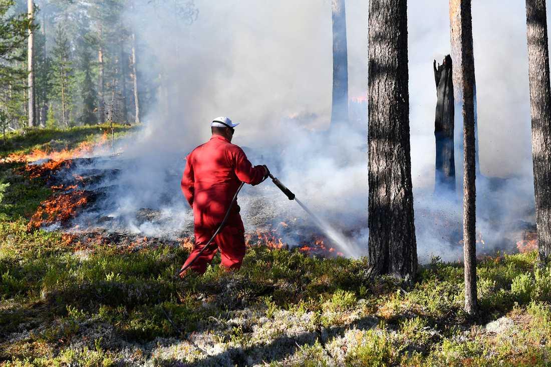 Släckningsarbete pågår vid branden i Älvdalen, Dalarna.