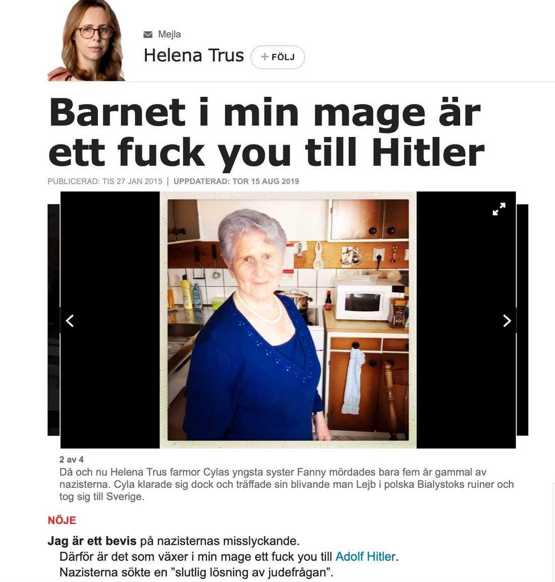 Skärmdump på krönikan Helena Trus skrev den 27 januari 2015 på Förintelsens minnesdag.