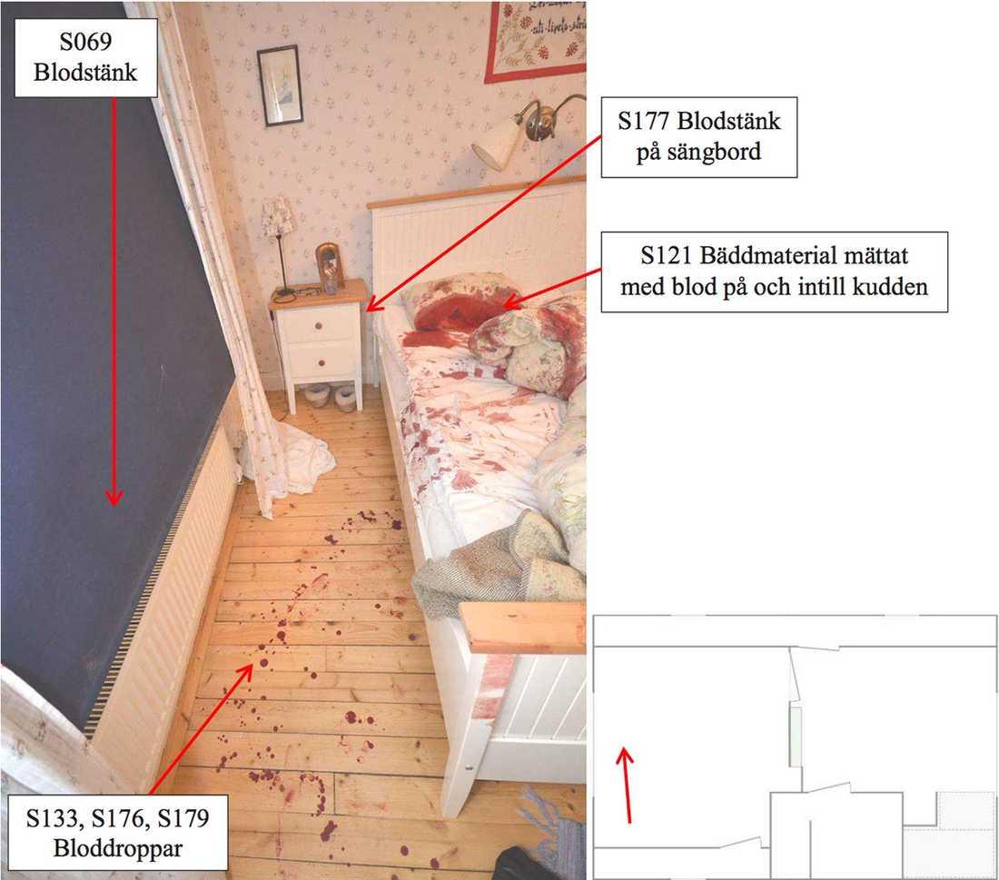 Sovrummet, där 42-åringens föräldrar attackerades. Pappan dog på platsen, mamman fick svåra skador men överlevde attacken.