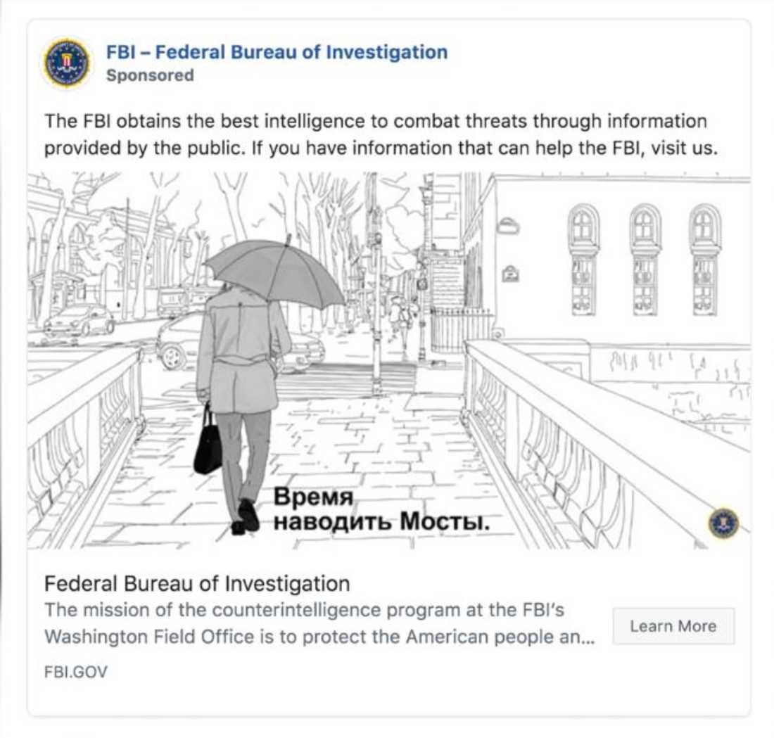FBI annonserar i sociala medier att de söker ryska spioner.