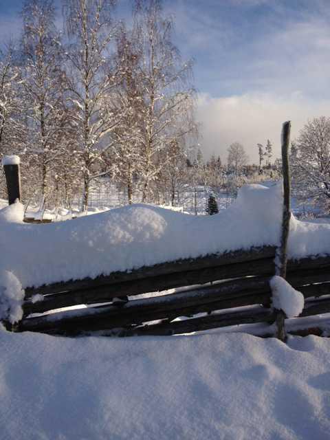 Snö i Huskvarna.