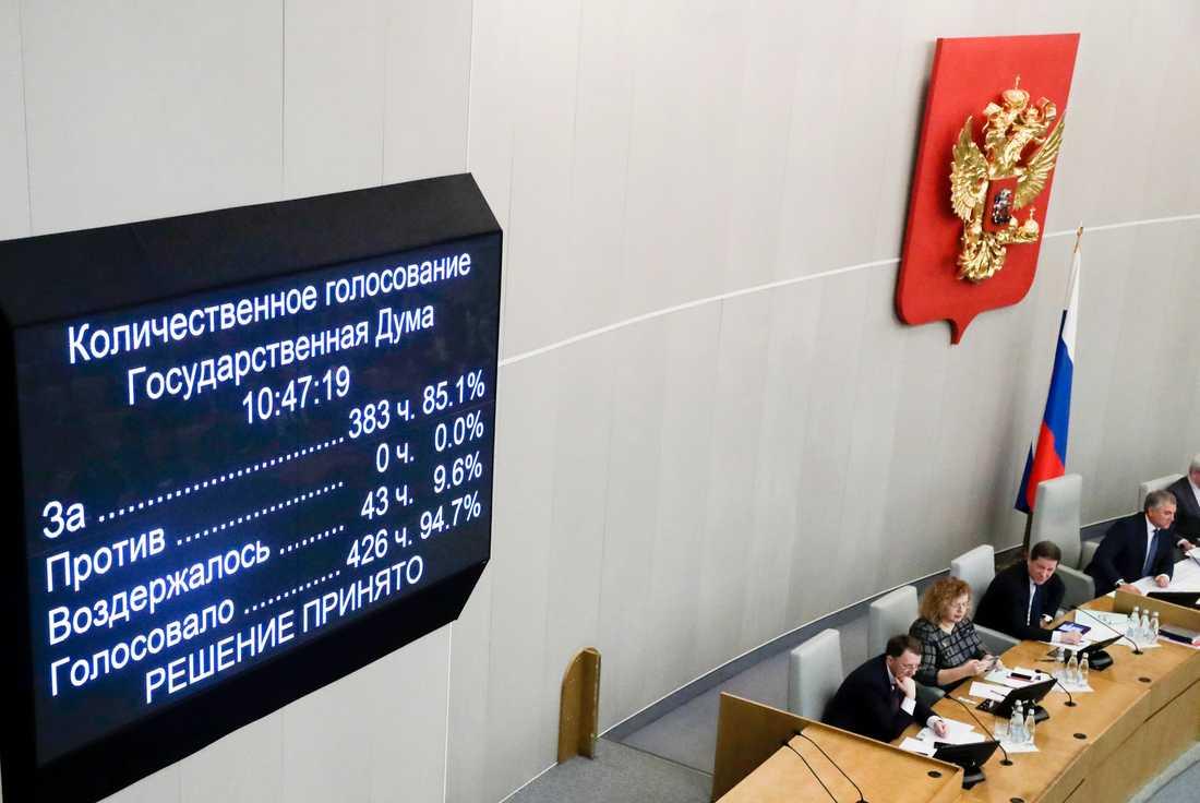 Stor majoritet för ja till grundlagsförändringarna i duman på onsdagen.