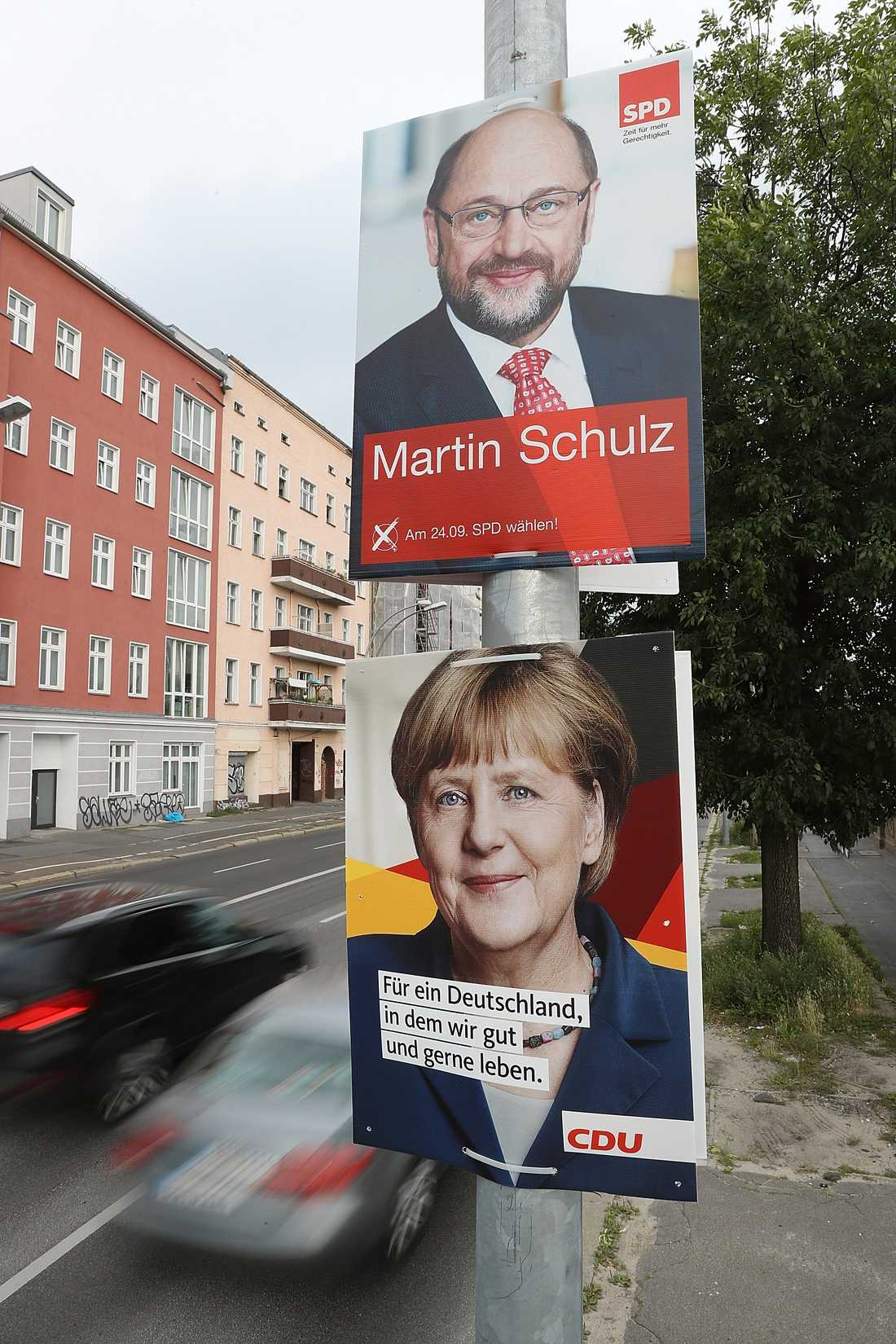 Valet i Tyskland står mellan Martin Schulz (SPD) och Angela Merkel (CDU).