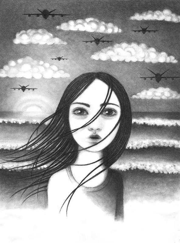 """Illustration av Lina Bodén i Kristina Lindströms """"Flickornas historia - världen""""."""