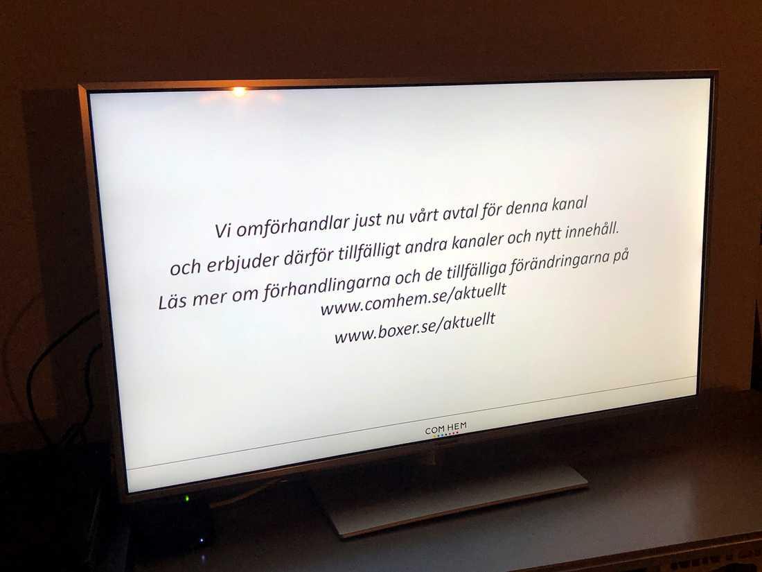 Meddelande som mötte den som ville titta på TV4 efter nedsläckningen.