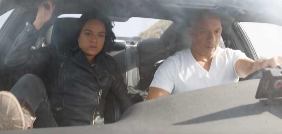 "Michaelle Rodriguez och Vin Diesel i ""Fast & furious 9""."