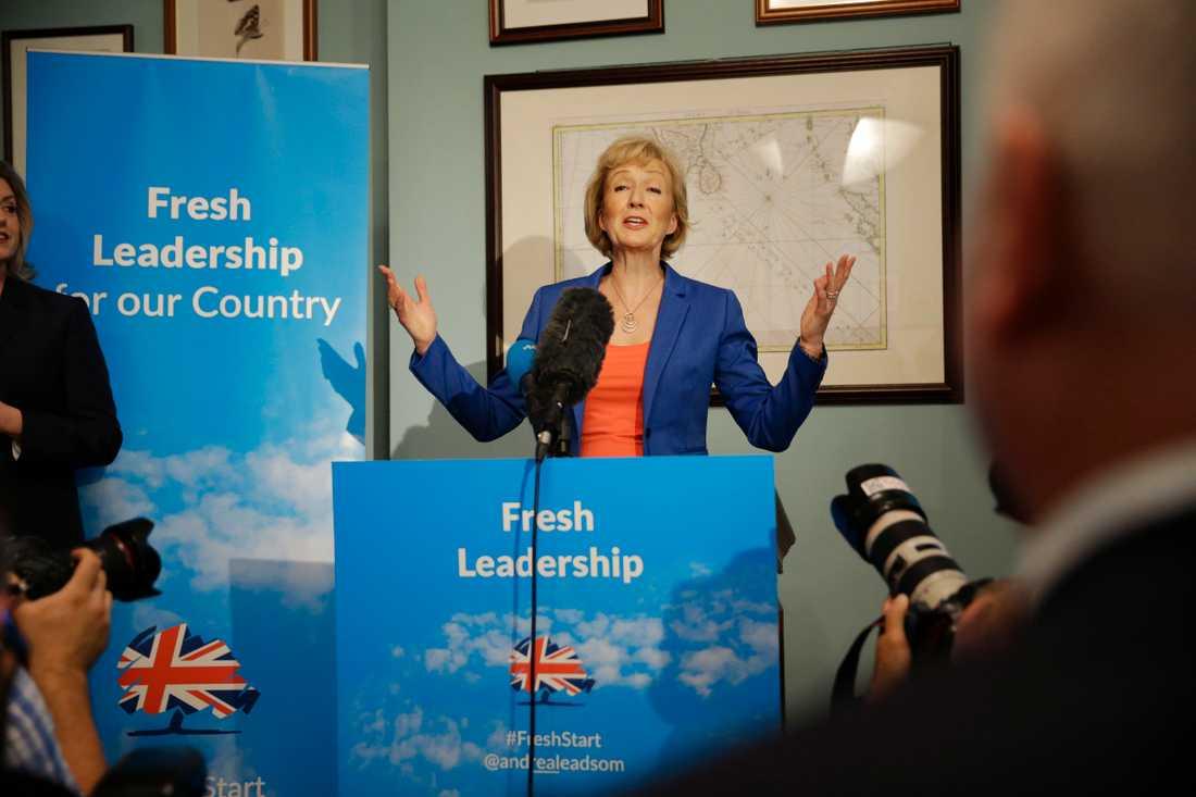 Andrea Leadsom är en av flera som vill efterträda Theresa May som brittisk premiärminister. Arkivbild.