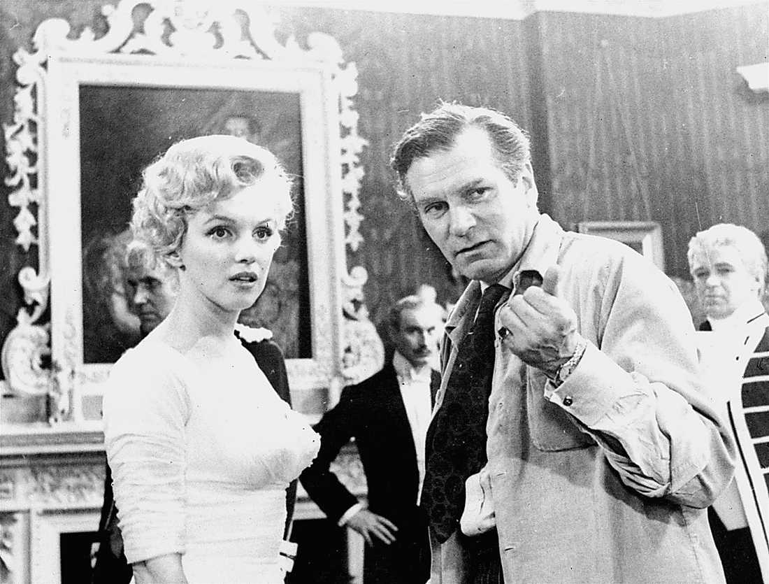 """Med Laurence Olivier vid inspelningen av """"Prinsen och balettflickan"""" 1956."""